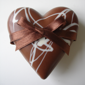Milk chocolate heart with ribbon