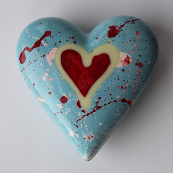 Handpainted blue chocolate heart