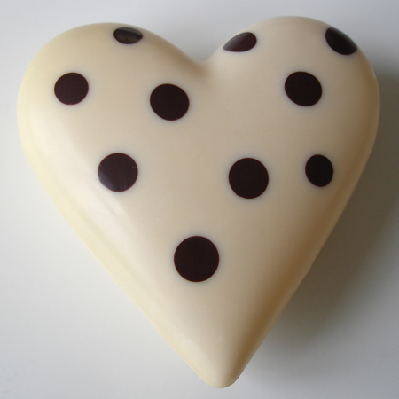 White chocolate polka dot heart