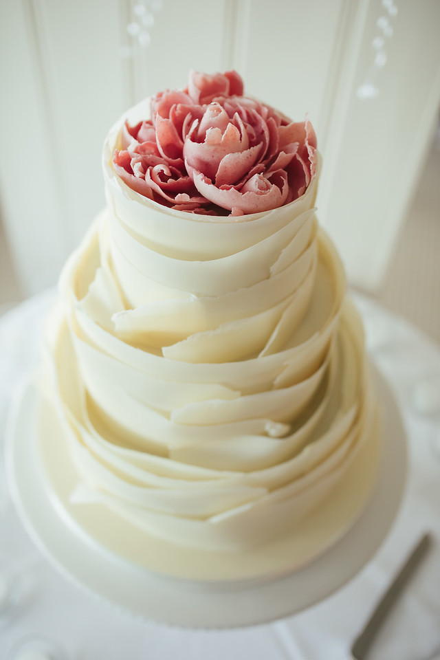White Chocolate Peony flower wedding cake at Hotel Tresanton side